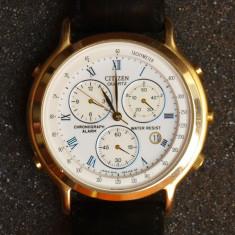 Ceas CITIZEN, quartz, cronograph, water resist. Made in Japan. Anii 70. - Ceas barbatesc Citizen, Elegant, Metal necunoscut, Piele, Tahimetru