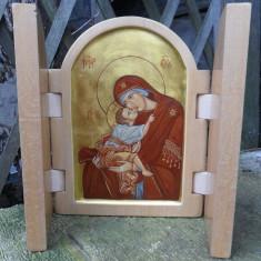 Icoana Triptic Maica Domnului cu Pruncul - Icoana cu foita de aur