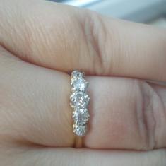 Superb inel banda / verigheta aur galben 18K cu diamante naturale 0.60CT - Inel diamant