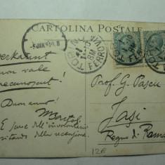 CARTE POSTALA ADRESATA DISTINSULUI FILOLOG DIN IASI PROF. GEORGE PASCU, SPECIALIST IN LIGVISTICA ROMANICA - EXPEDIATA DIN ITALIA IN ANUL 1910 - Carte Postala Moldova pana la 1904