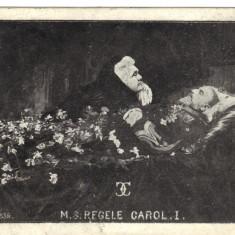 Carte postala ilustrata - Regele Carol I pe catafalc si regina Elisabeta