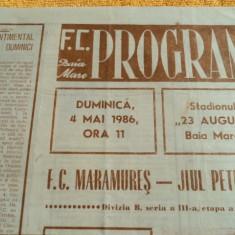 Program fotbal FC Maramures - Jiul Petrosani 04.05.1986