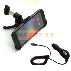 Suport auto pt grila ventilatie + Incarcator pt Samsung Galaxy Nexus Prime i9250 holder Car Charger + folie protectie ecran