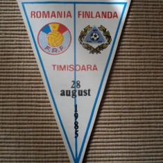 Fanion fotbal ROMANIA FINLANDA 1985 meci international fan sport hobby colectie