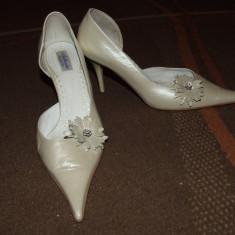 Pantofi piele ivoire/crem/bej (mireasa) nr.38 - Pantof dama