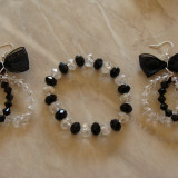 Set bratara si cercei cu cristale fatenate - Set bijuterii handmade si fashion