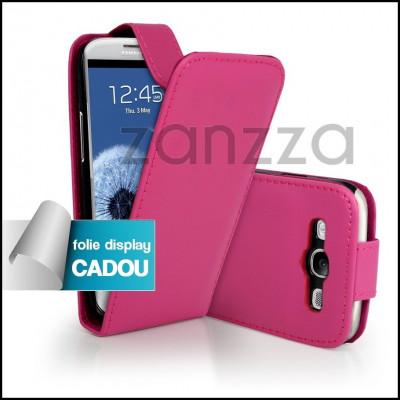 Husa / Toc Flip Samsung Galaxy S3 III i9300 piele ECO roz + Folie protectie display GRATIS foto