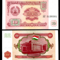 TADJIKISTAN-10 RUBLE 1994- UNC!! - bancnota asia