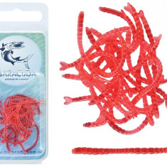 Set 20 buc. viermi rosii silicon Baracuda libelule - Momeala artificiala Pescuit