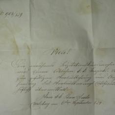 13 - CORESPONDENTA OFICIALA EX OFFO - TRANSILVANIA 1859 - TOVIS(TEIUS) - KARLSBURG(ALBA IULIA)