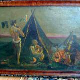 Tablou Satra de tigani, pictura ulei veche - Tablou autor neidentificat, An: 1940, Scene gen, Altul