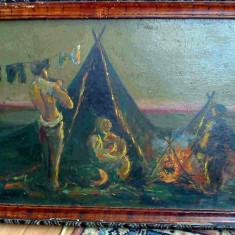 Tablou Satra de tigani, pictura ulei veche