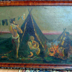 Tablou Satra de tigani, pictura ulei veche, Scene gen, Altul