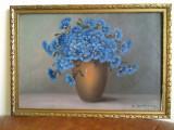 Superb tablou vaza cu flori de camp, pictura ulei pe carton, semnata, Realism