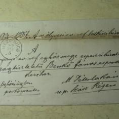 PLIC DIN HARTIE IMPATURITA ANUL 1866 - STAMPILE MARASVASARHELY(TG-MURES) - SZASZ REGEN(REGHIN) - MEZO RUCS(RACIU-MURES) - SIGILIU DE CEARA ROSIE