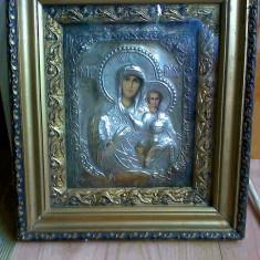 Icoana Maica Domnului cu Pruncul, metal argintat, perioada antebelica - Icoana din metal