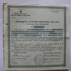 CHITANTA TITLU-PROVIZORIU IMPRUMUTUL APARARII NATIONALE DIN 1944