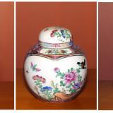 Vaze si bomboniera portelan China. Pictura manuala. Anii 70.
