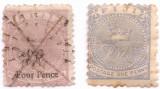 1877 1878 FIJI 2 TIMBRE 4pence  on 3d. Yt 18 = 65 EURO + Yt 25 = 10 EURO
