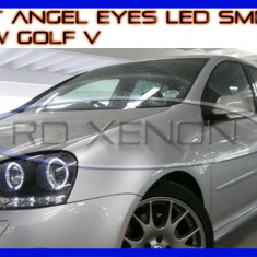 KIT INELE ANGEL EYE EYES CU LED SMD - VW GOLF 5 - CULOARE ALB XENON 6000K ZDM, Universal
