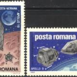 Romania 1969 - COSMOS, APOLLO 9 SI 10, serie nestampilata G34 - Timbre Romania, Spatiu