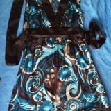 Rochie dama satin marime 38 made in USA Banana Republic, Culoare: Maro, 3/4, Kimono