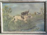 Cumpara ieftin Scena de vanatoare cu caini, tablou 70 x 50 cm , pictura in ulei, Animale, Realism