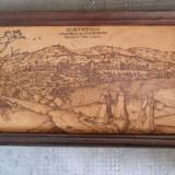 Panorama orasului Cluj-Napoca in sec. XVII - Pirogravura - Pictor roman