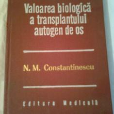 VALOAREA BIOLOGICA A TRANSPLANTULUI AUTOGEN DE OS ~ N.M.CONSTANTINESCU - Carte Ortopedie