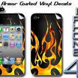 FOLIE VINIL PROTECTIE PERSONALIZARE IPHONE 4 / 4S FATA SPATE FIRE FLAME ON BLACK, Apple