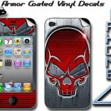 FOLIE VINIL PROTECTIE PERSONALIZARE IPHONE 4 / 4S FATA SPATE RED METAL SKULL, Apple