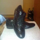 Vand pantofi din piele - Pantofi barbat, Culoare: Negru, Marime: 42, Piele naturala, Negru