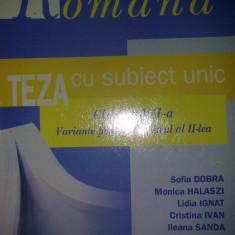 Sofia Dobra - Teza cu subiect unic Limba si literatura romana VII Sem II