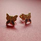 Cercei copii din argint 925 placati cu aur in forma de fluturasi cu aripioare roz cu violet