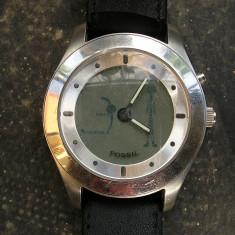 Vand ceas fosil - Ceas barbatesc Swatch, Quartz, Inox, Piele - imitatie, Analog & digital