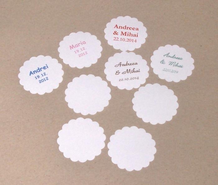 50 Etichete Personalizate Marturii Nunta Botez Lichidare Stoc