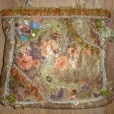 SUPER PRET ! Superba geanta handmade noua cu detalii vintage mix materiale ! - Geanta Dama, Culoare: Bej, Marime: Medie