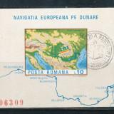 RFL 1977 ROMANIA colita nedantelata Navigatia Europeana pe Dunare, stampila Prima Zi - Timbre Romania