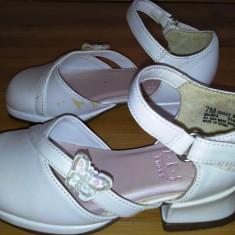 Pantofiori de fetite, piele alba, marimea 7 - Pantofi copii, Marime: Alta, Fete