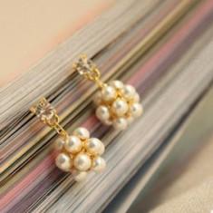 Vand cercei fashion cu perle - Cercei perla