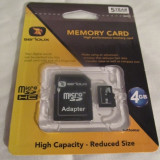 Card memorie micro SD 4 GB NOU microSD hc - SIGILAT in tipla + Adaptor