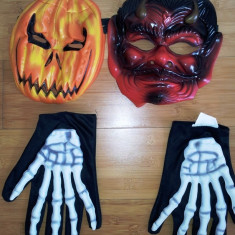 2 masti copii Holloween si manusi de schelete - Costum petrecere copii