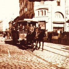 Carte postala ilustrata tramvai cu cai Hotel Palace-Bd. Elisabeta, Bucuresti