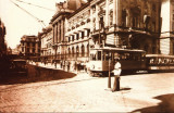 Carte postala ilustrata Tramvai pe strada Lipscani/ strada Smardan, Bucuresti