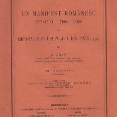 I.Ursu / UN MANIFEST ROMANESC TIPARIT CU LITERE LATINE AL IMPARATULUI LEOPOLD I DIN ANUL 1701 - editie 1912 - Carte Istorie