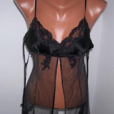 Lenjerie dama seara Victoria's Secret marime XS culoare neagra - Vesta dama Victoria S Secret, Culoare: Negru