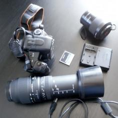 Sony a200 kit complet, pachet foto DSLR deosebit, 18-70sony si 70-300sigma - DSLR Sony, Kit (cu obiectiv), 10 Mpx