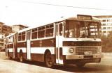 Carte postala ilustrata Autobuz Ikarus articulat, in 1974