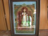 ICOANA - ISUS  DIN PORTELAN IN CASETA  LEMN SI STICLA PICTATA