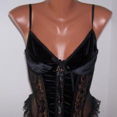 Corset seara dama Playboy marime L USA, Marime: Alta, Culoare: Negru, Bretele convertibile